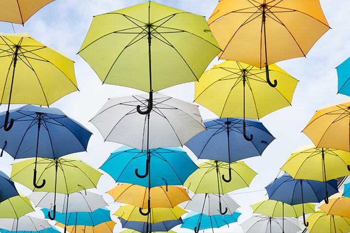 外の天気と雨傘