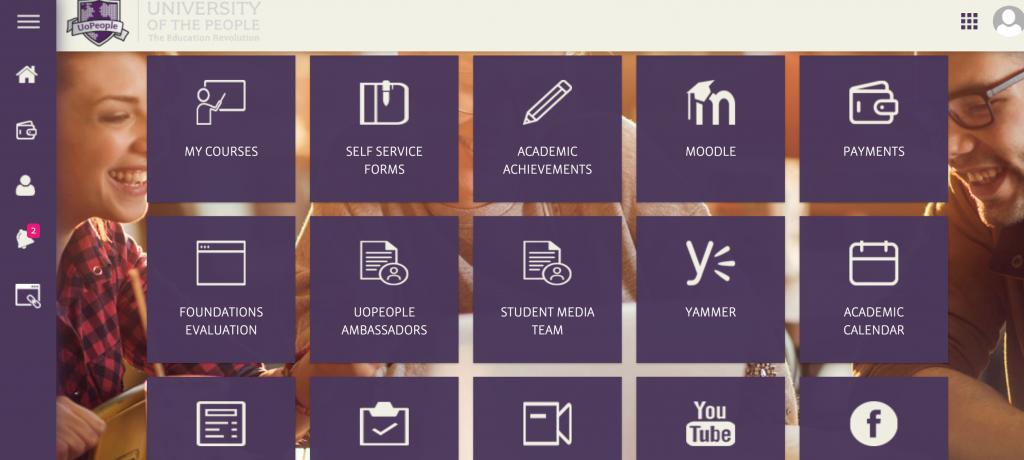 UoPeopleのポータルサイトの目次画面
