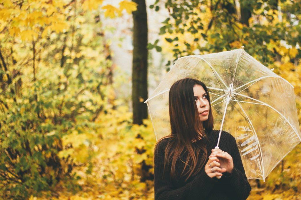 にわか雨で傘をさしている女性の様子