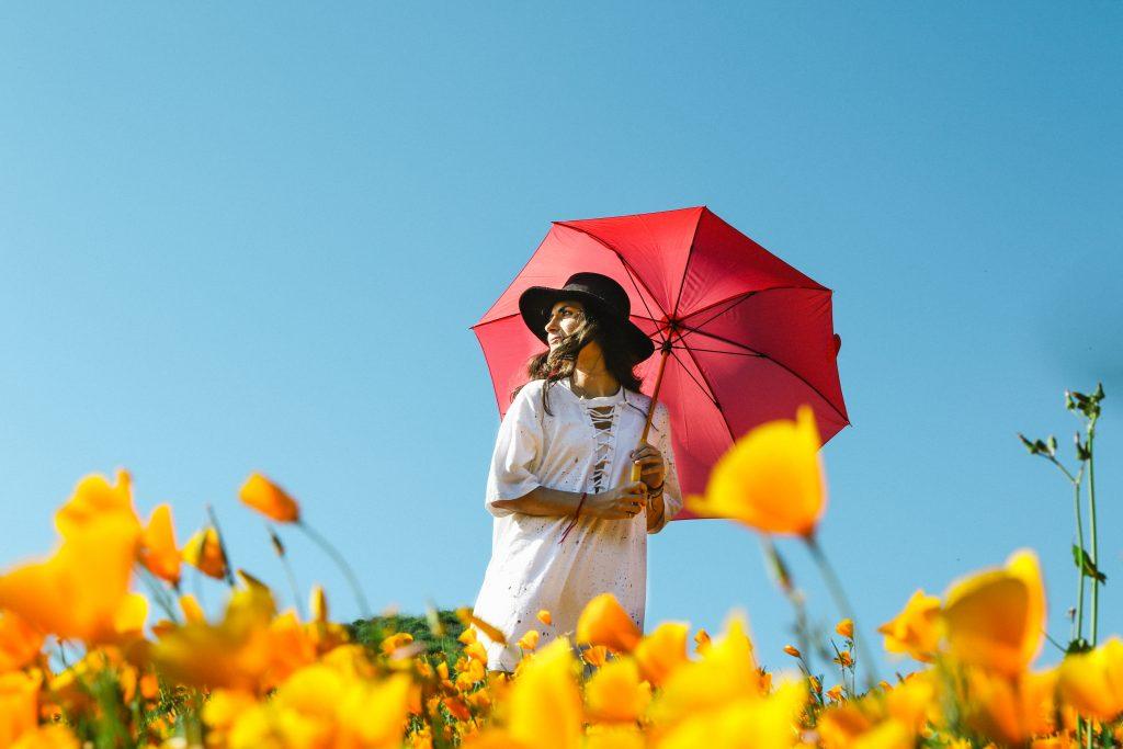 お天気雨で傘をさしている女性
