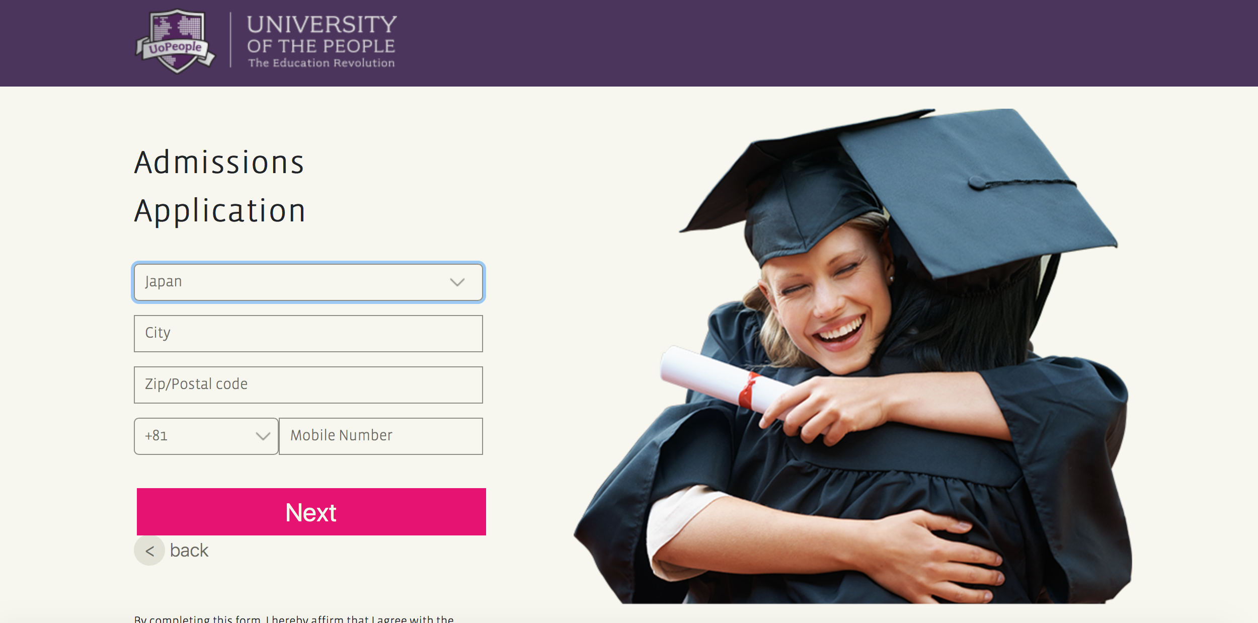 Admission Application for University of the People
