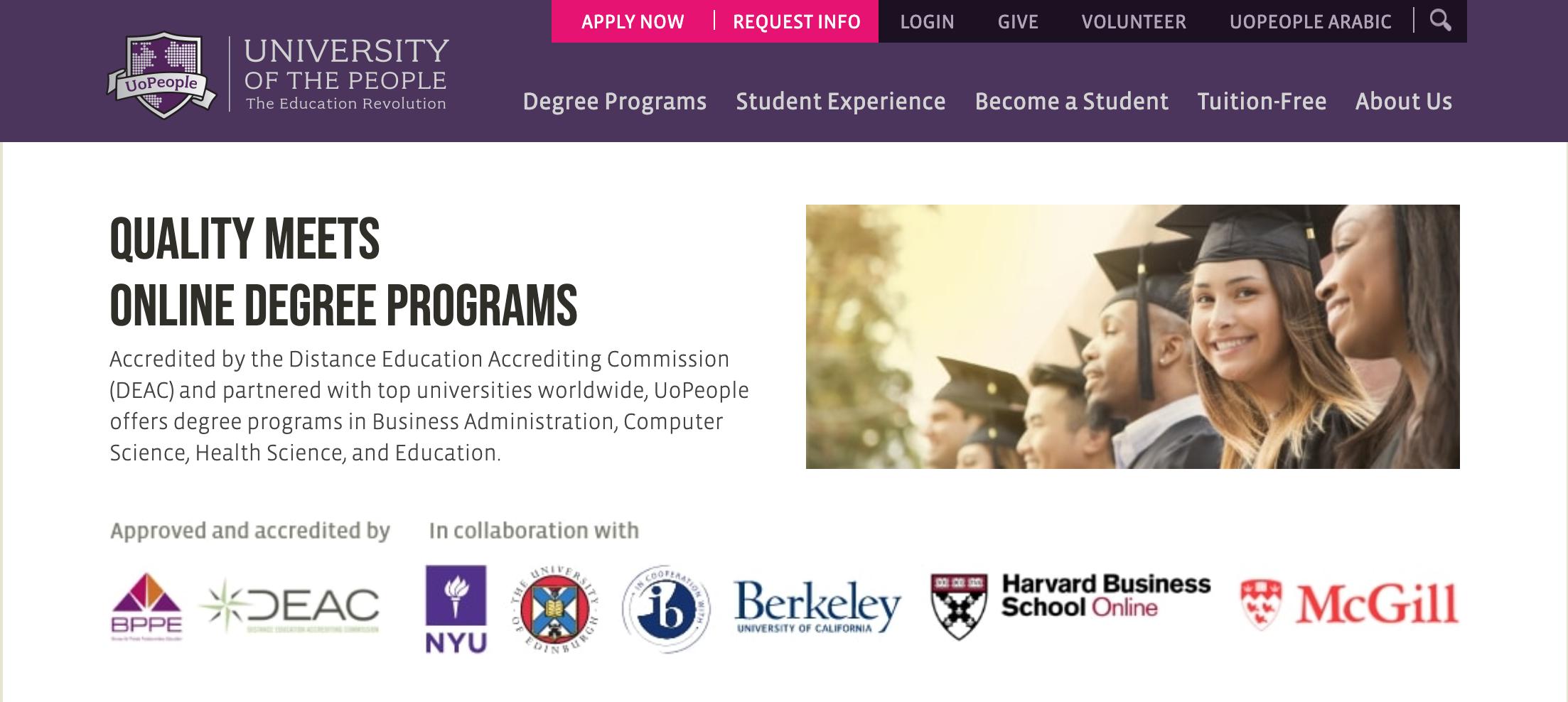 数々な有名大学と提携しているUniversity of the People