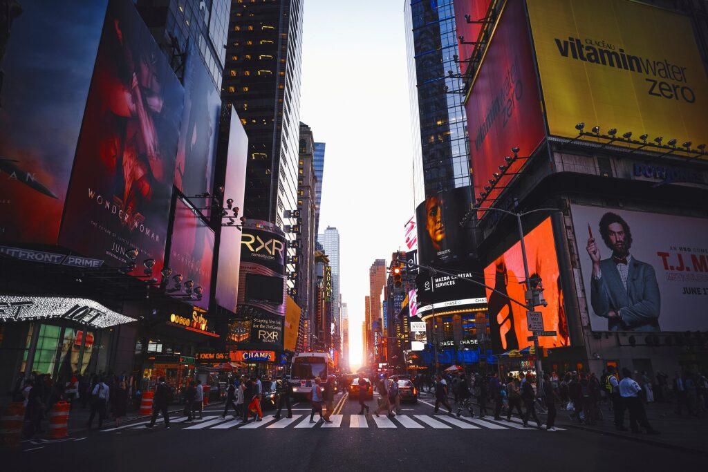アメリカのニューヨークのタイムズスクエア