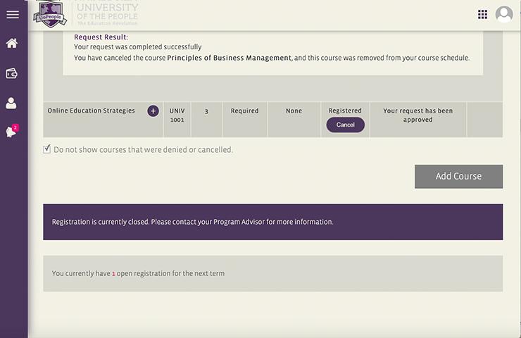 UoPeopleのコースをキャンセルした時の画面