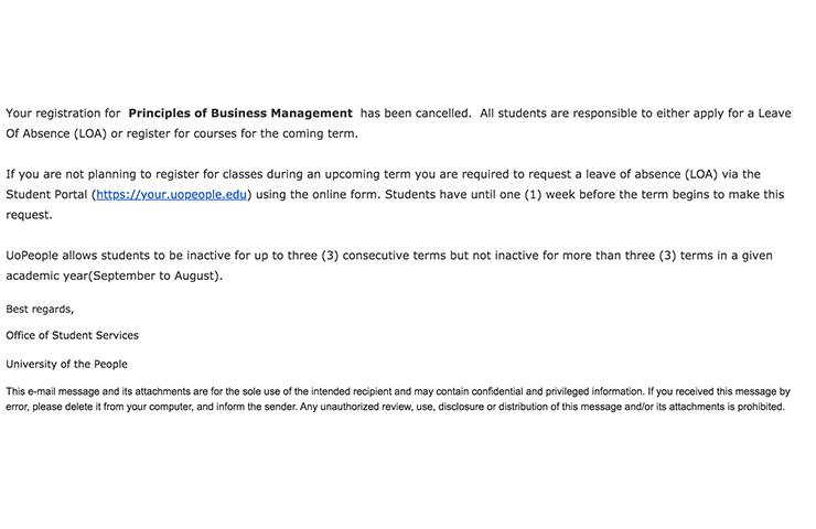 UoPeopleのコースのキャンセルに成功した時のEメール