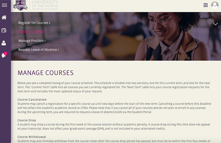 UoPeopleのMy portalのMy Courses