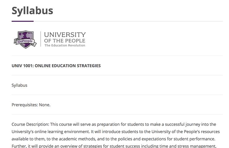 University of the Peopleのシラバス