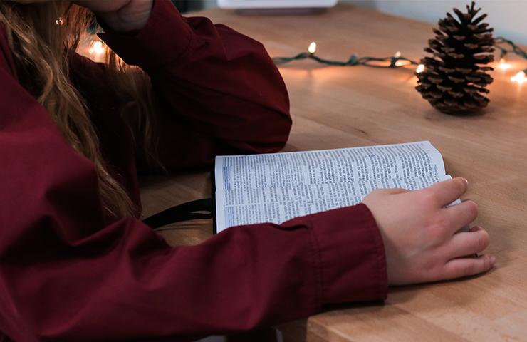 テストに向けて本を読んでいる女学生