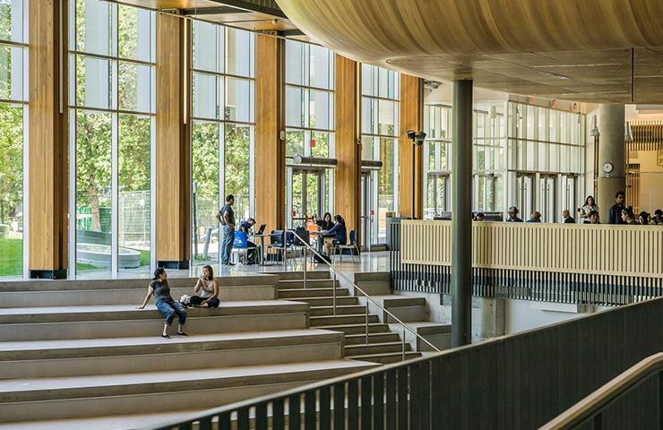 大学のキャンパスにいる大学生たち