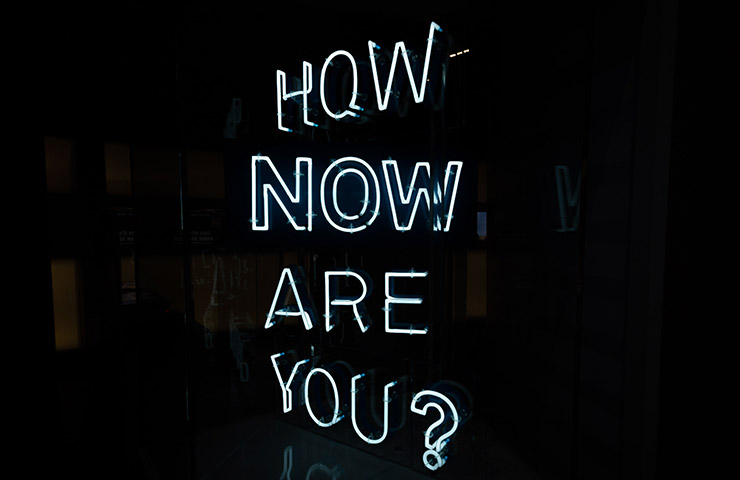 「How now are you?」の文字