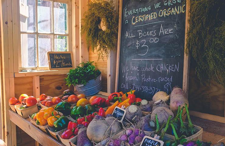 ストアで売られている果物や野菜