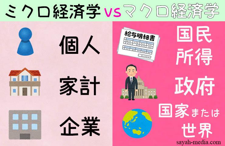 ミクロ経済学とマクロ経済学の違いの比較図