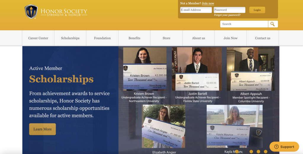 Honorsociety.org公式ウェブサイト