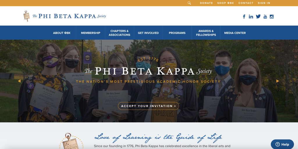 Phi Beta Kappa公式ウェブサイト