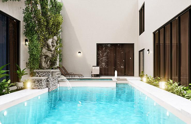 リッチでラグジュアリーな家のプール