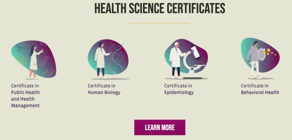 健康科学学部の認定書プログラム一覧一覧
