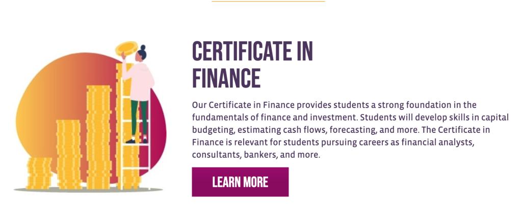 Certificate in Finance