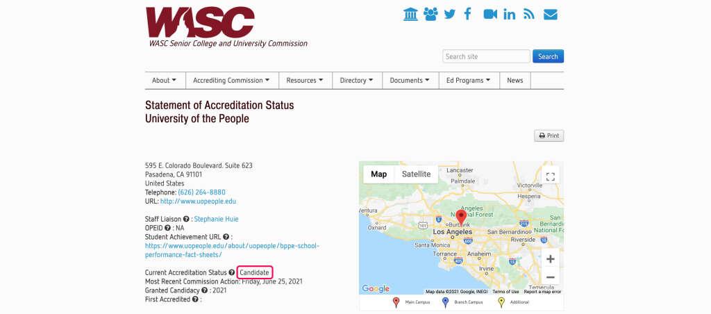 WSCUCのAccreditationステータス